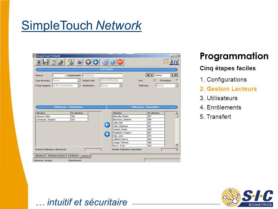 Programmation Cinq étapes faciles 1. Configurations 2. Gestion Lecteurs 4. Enrôlements 5. Transfert 3. Utilisateurs … intuitif et sécuritaire SimpleTo
