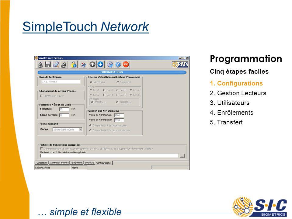 … simple et flexible SimpleTouch Network Programmation Cinq étapes faciles 1. Configurations 2. Gestion Lecteurs 4. Enrôlements 5. Transfert 3. Utilis