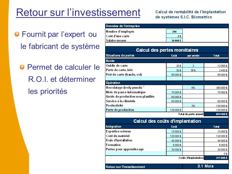 Fournit par l'expert ou le fabricant de système Retour sur l'investissement Permet de calculer le R.O.I. et déterminer les priorités