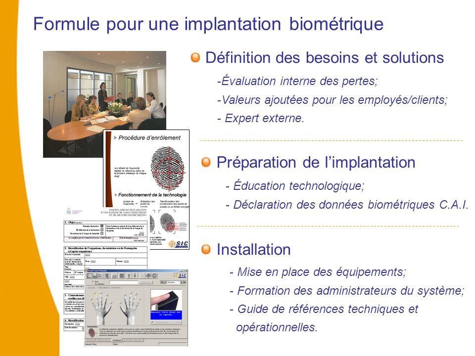 Formule pour une implantation biométrique -Évaluation interne des pertes; -Valeurs ajoutées pour les employés/clients; - Expert externe. Préparation d