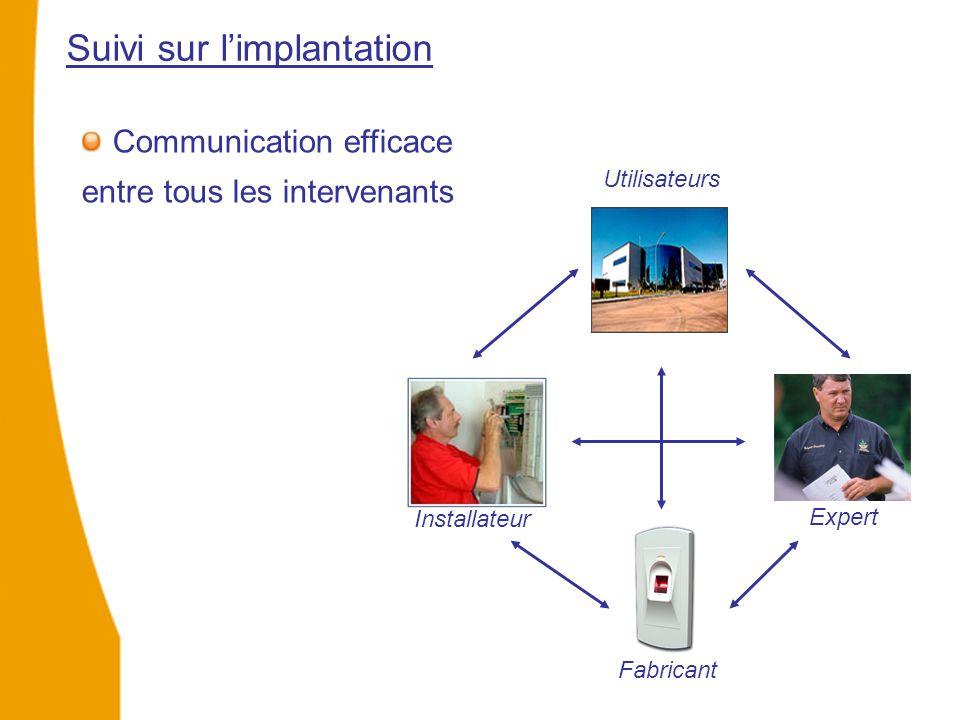 Suivi sur l'implantation Utilisateurs Installateur Expert Fabricant Communication efficace entre tous les intervenants