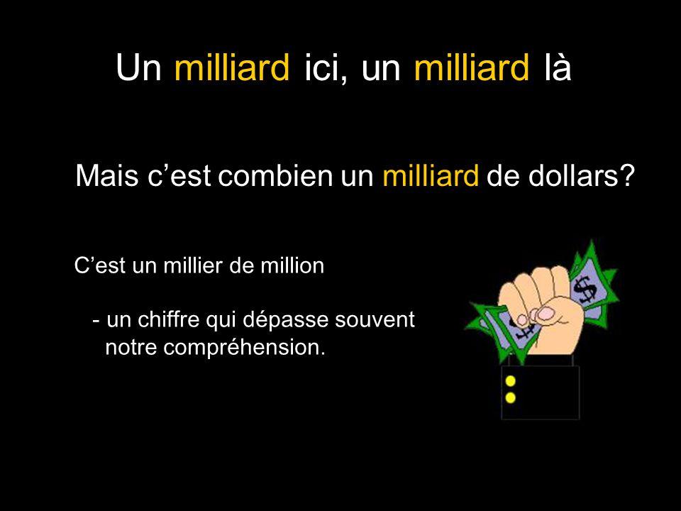 Un milliard ici, un milliard là Mais c'est combien un milliard de dollars? C'est un millier de million - un chiffre qui dépasse souvent notre compréhe