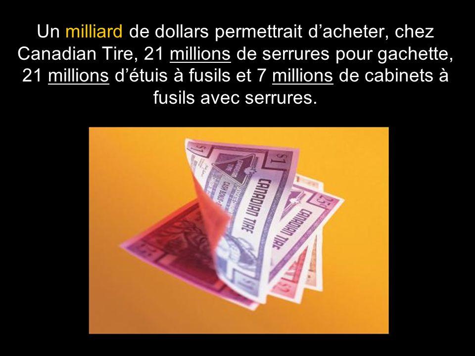 Un milliard de dollars permettrait d'acheter, chez Canadian Tire, 21 millions de serrures pour gachette, 21 millions d'étuis à fusils et 7 millions de
