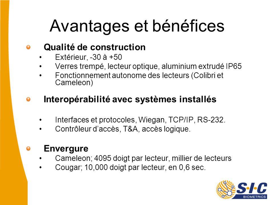 Avantages et bénéfices Qualité de construction Extérieur, -30 à +50 Verres trempé, lecteur optique, aluminium extrudé IP65 Fonctionnement autonome des lecteurs (Colibri et Cameleon) Interopérabilité avec systèmes installés Interfaces et protocoles, Wiegan, TCP/IP, RS-232.