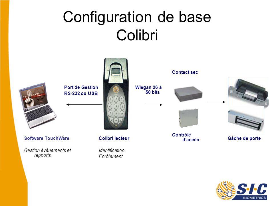 Configuration de base Colibri Port de Gestion RS-232 ou USB Software TouchWare Gestion événements et rapports Colibri lecteur Identification Enrôlement Gâche de porte Contact sec Contrôle d'accès Wiegan 26 à 50 bits