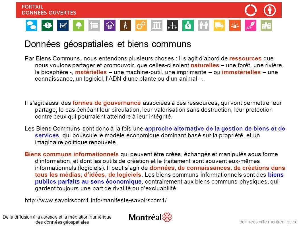 Données géospatiales et biens communs Gouvernance De la diffusion à la curation et la médiation numérique des données géospatiales