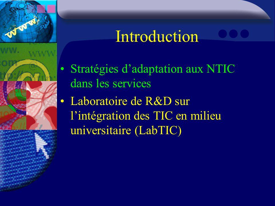 Introduction Stratégies d'adaptation aux NTIC dans les services Laboratoire de R&D sur l'intégration des TIC en milieu universitaire (LabTIC)