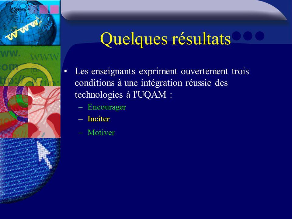 Quelques résultats Les enseignants expriment ouvertement trois conditions à une intégration réussie des technologies à l UQAM : –Encourager –Inciter –Motiver