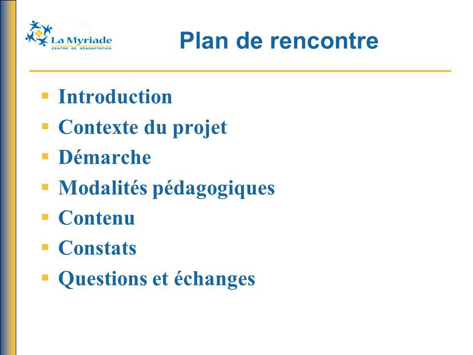 Plan de rencontre  Introduction  Contexte du projet  Démarche  Modalités pédagogiques  Contenu  Constats  Questions et échanges