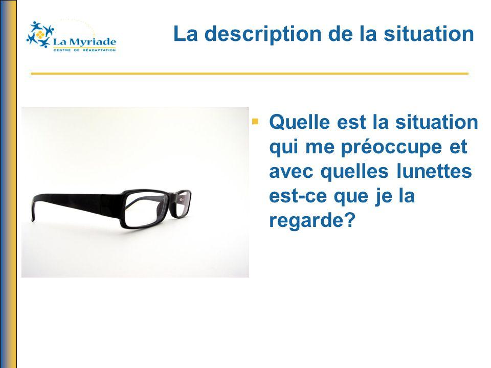 La description de la situation  Quelle est la situation qui me préoccupe et avec quelles lunettes est-ce que je la regarde?
