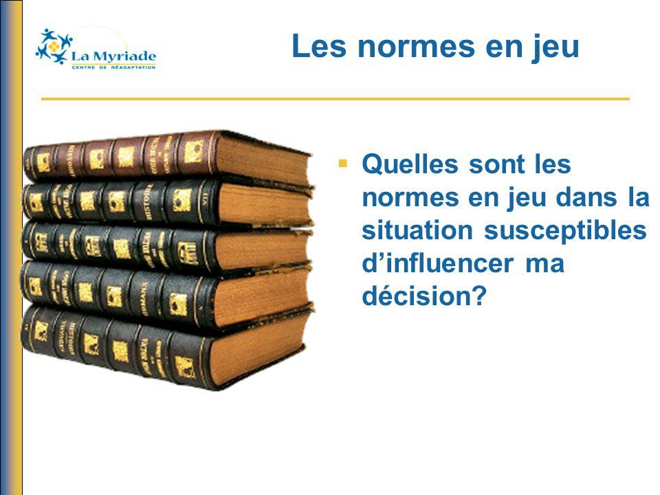 Les normes en jeu  Quelles sont les normes en jeu dans la situation susceptibles d'influencer ma décision?