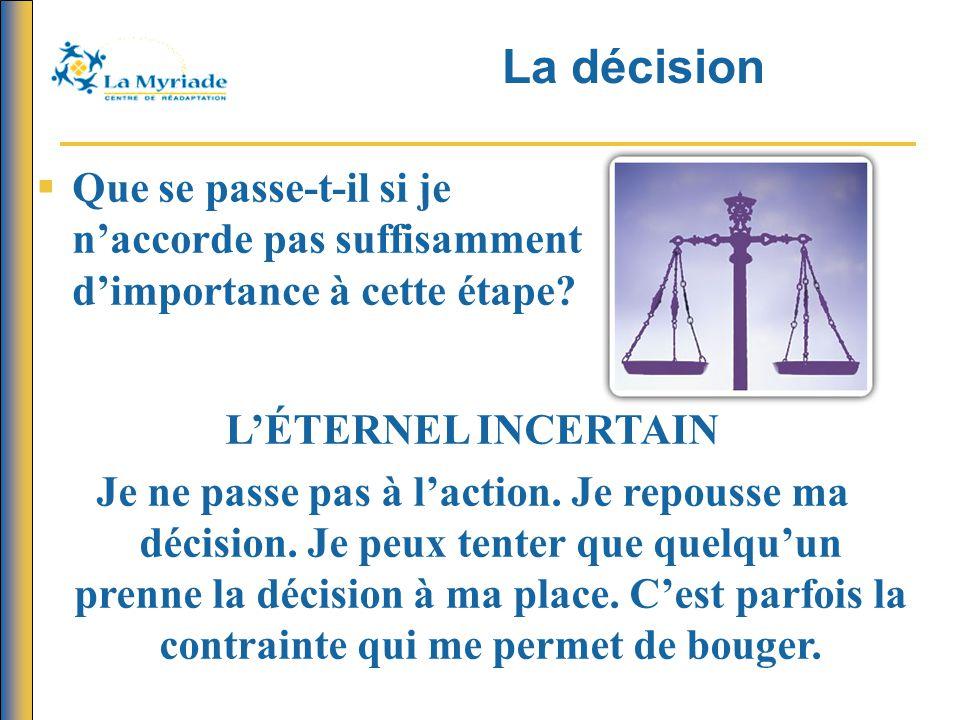 La décision   Que se passe-t-il si je n'accorde pas suffisamment d'importance à cette étape.