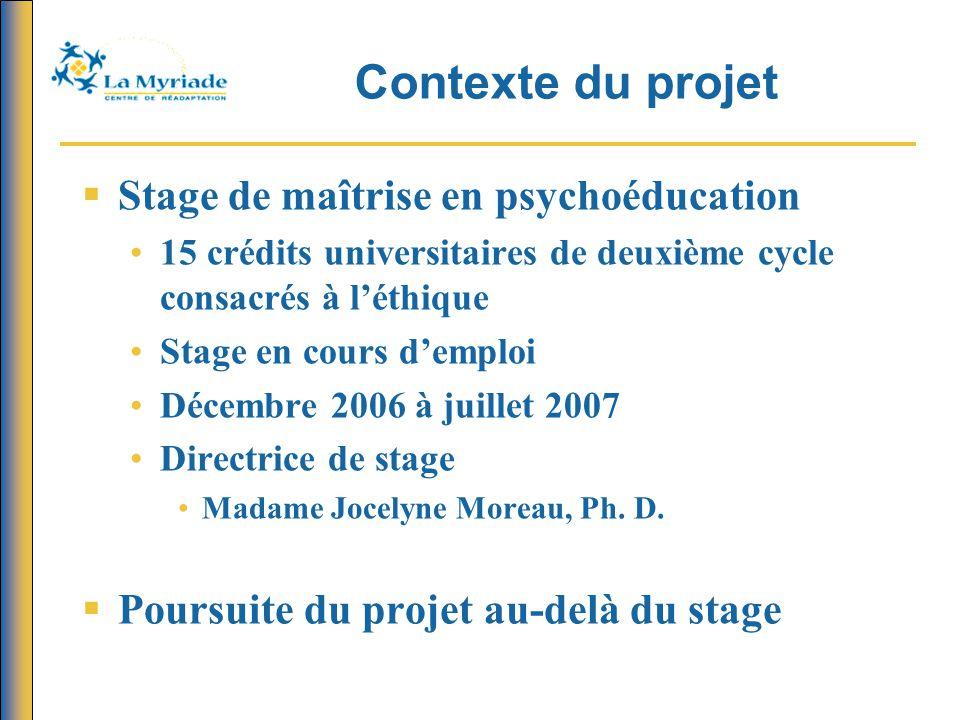 Contexte du projet  Stage de maîtrise en psychoéducation 15 crédits universitaires de deuxième cycle consacrés à l'éthique Stage en cours d'emploi Dé