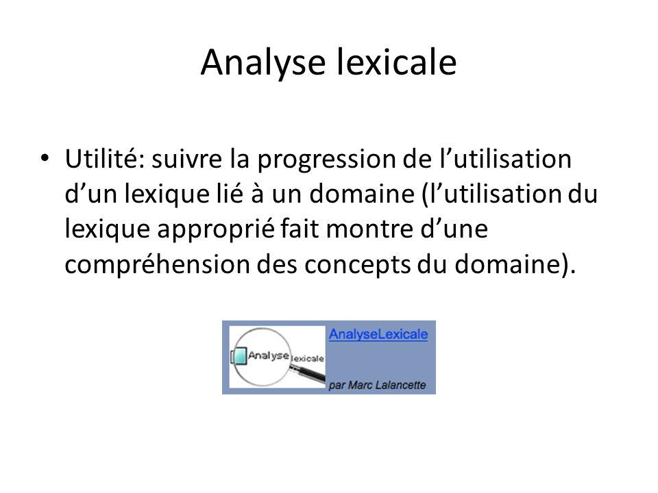 Analyse lexicale Utilité: suivre la progression de l'utilisation d'un lexique lié à un domaine (l'utilisation du lexique approprié fait montre d'une c