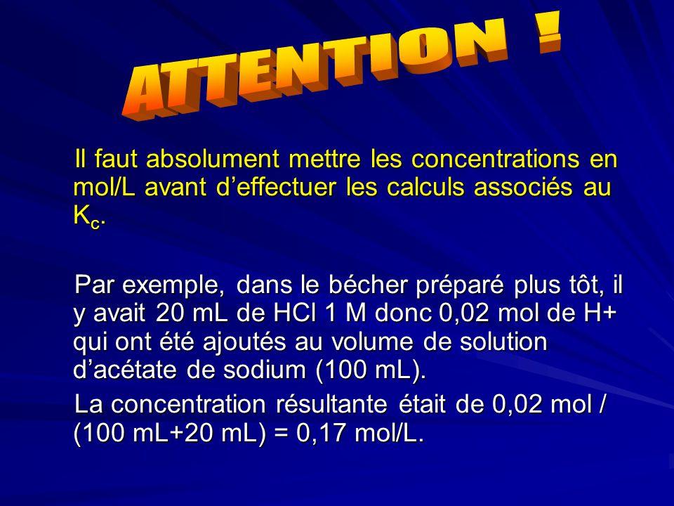 Il faut absolument mettre les concentrations en mol/L avant d'effectuer les calculs associés au K c. Par exemple, dans le bécher préparé plus tôt, il