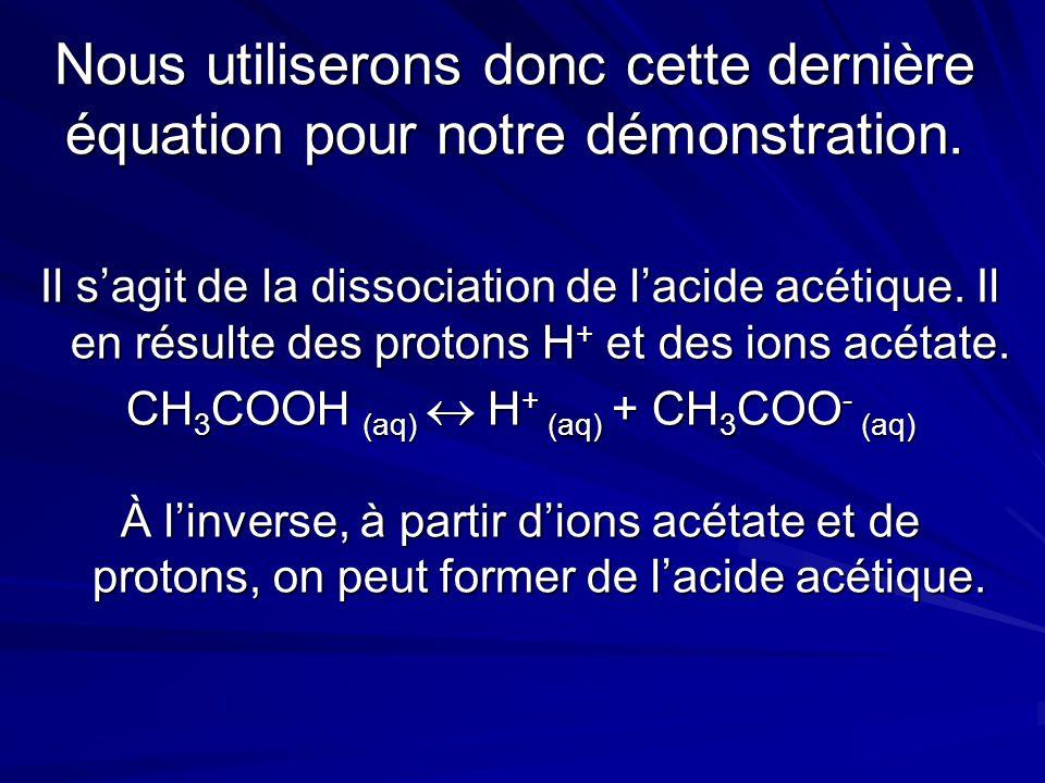 Nous utiliserons donc cette dernière équation pour notre démonstration. Il s'agit de la dissociation de l'acide acétique. Il en résulte des protons H