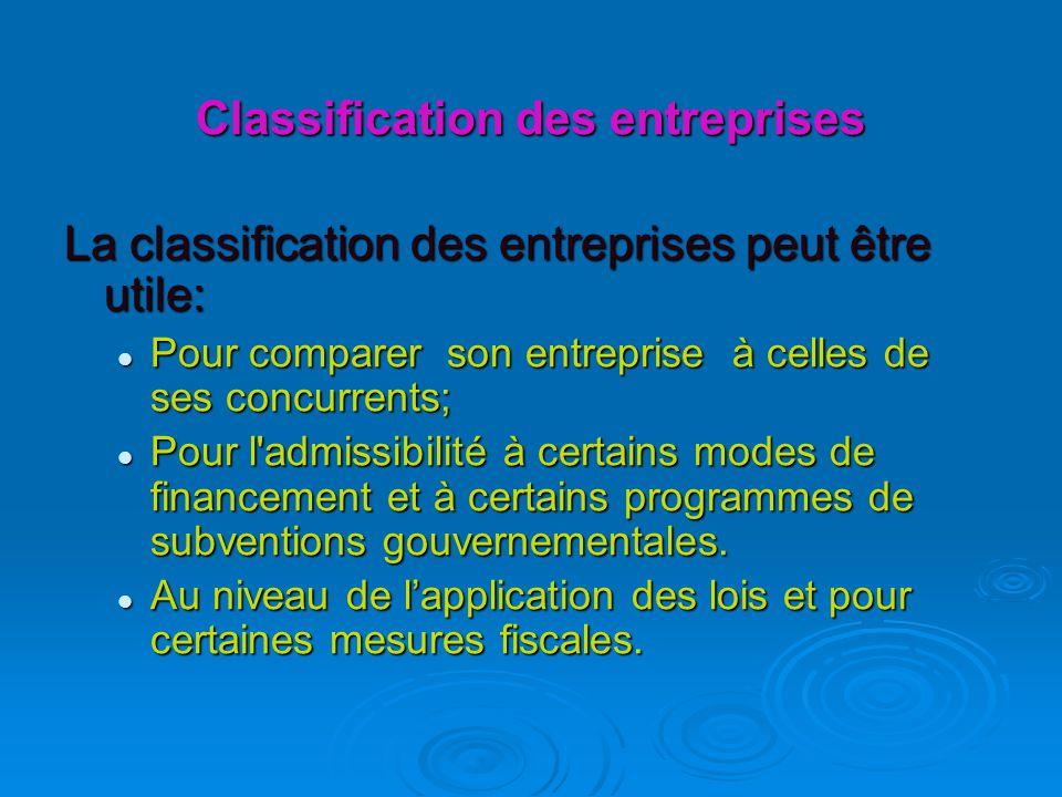Classification des entreprises La classification des entreprises peut être utile: Pour comparer son entreprise à celles de ses concurrents; Pour comparer son entreprise à celles de ses concurrents; Pour l admissibilité à certains modes de financement et à certains programmes de subventions gouvernementales.