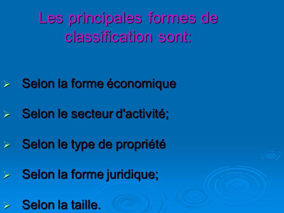 Les principales formes de classification sont:  Selon la forme économique  Selon le secteur d activité;  Selon le type de propriété  Selon la forme juridique;  Selon la taille.