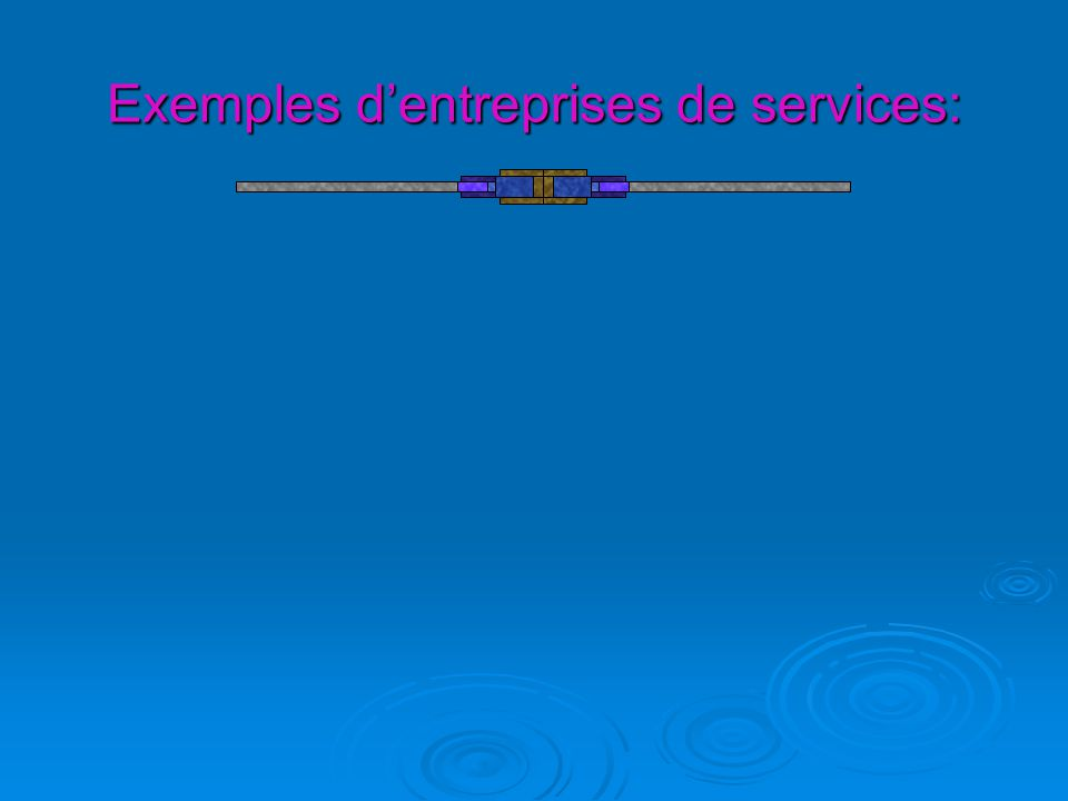 Exemples d'entreprises de services: