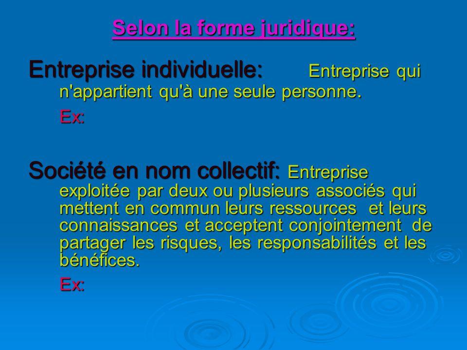 Selon la forme juridique: Entreprise individuelle: Entreprise qui n appartient qu à une seule personne.