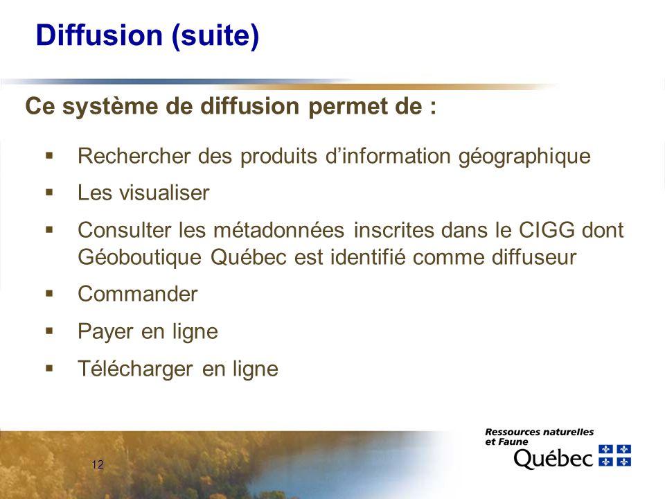 12 Diffusion (suite) Ce système de diffusion permet de :  Rechercher des produits d'information géographique  Les visualiser  Consulter les métadonnées inscrites dans le CIGG dont Géoboutique Québec est identifié comme diffuseur  Commander  Payer en ligne  Télécharger en ligne
