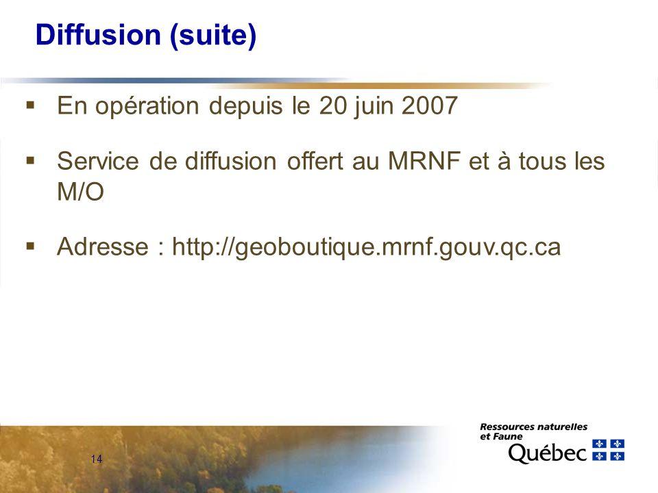14 Diffusion (suite)  En opération depuis le 20 juin 2007  Service de diffusion offert au MRNF et à tous les M/O  Adresse : http://geoboutique.mrnf.gouv.qc.ca