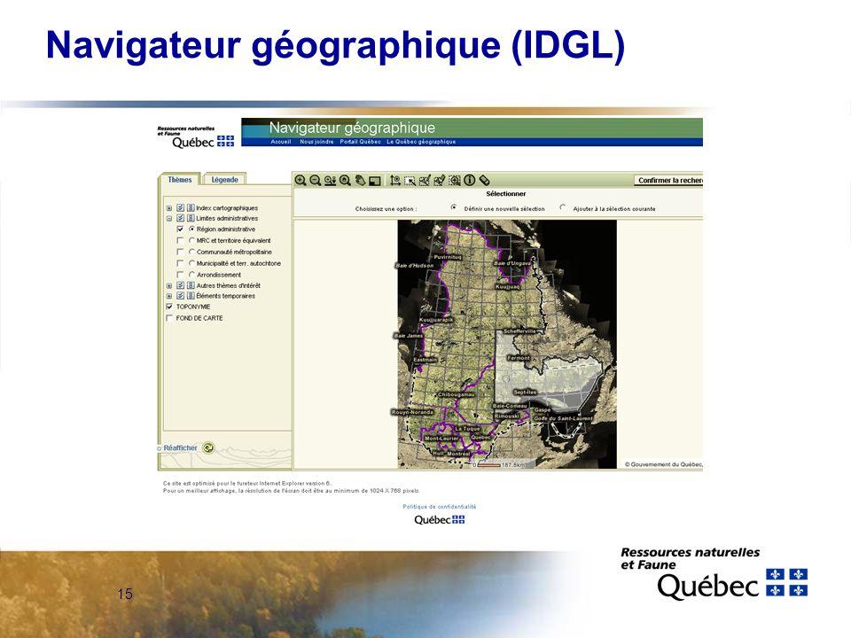 15 Navigateur géographique (IDGL)