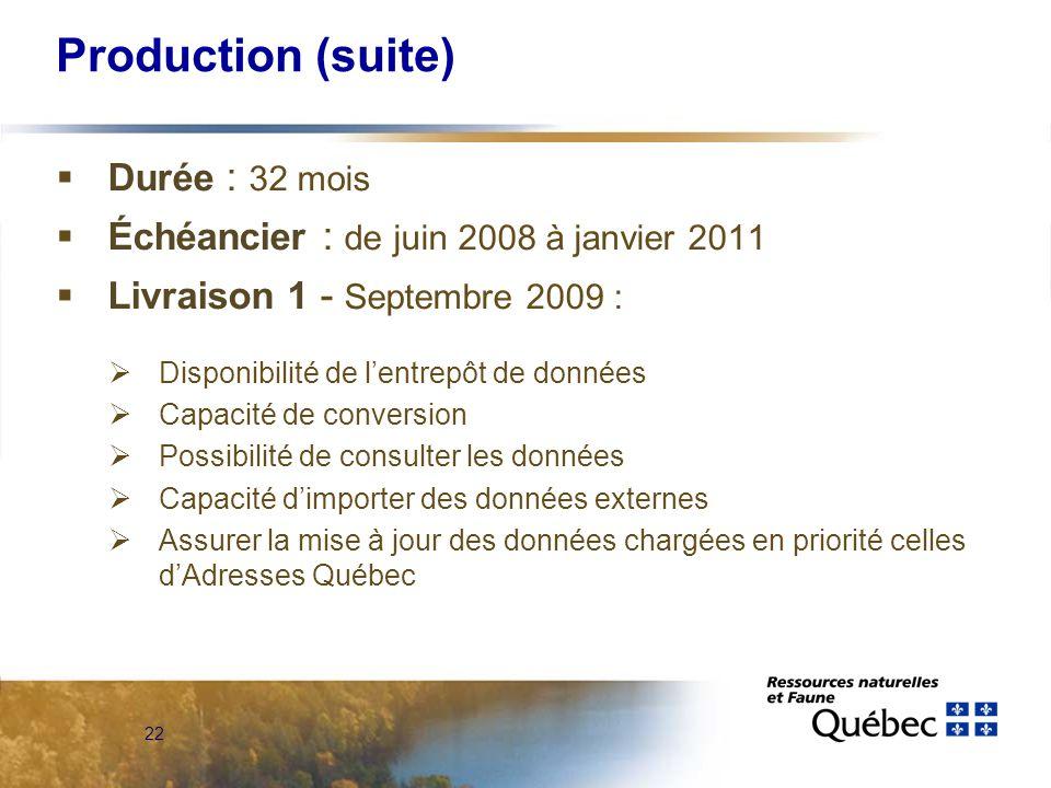 22 Production (suite)  Durée : 32 mois  Échéancier : de juin 2008 à janvier 2011  Livraison 1 - Septembre 2009 :  Disponibilité de l'entrepôt de données  Capacité de conversion  Possibilité de consulter les données  Capacité d'importer des données externes  Assurer la mise à jour des données chargées en priorité celles d'Adresses Québec