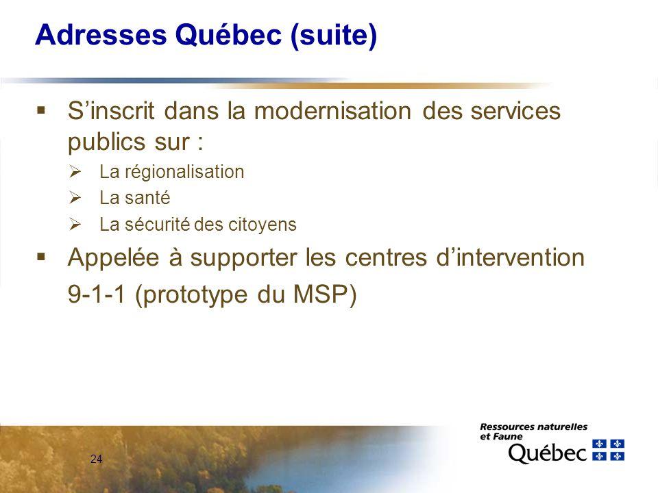 24 Adresses Québec (suite)  S'inscrit dans la modernisation des services publics sur :  La régionalisation  La santé  La sécurité des citoyens  Appelée à supporter les centres d'intervention 9-1-1 (prototype du MSP)