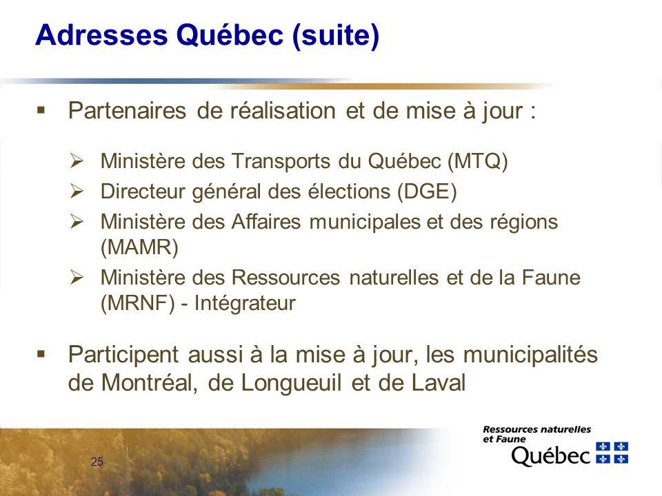 25 Adresses Québec (suite)  Partenaires de réalisation et de mise à jour :  Ministère des Transports du Québec (MTQ)  Directeur général des élections (DGE)  Ministère des Affaires municipales et des régions (MAMR)  Ministère des Ressources naturelles et de la Faune (MRNF) - Intégrateur  Participent aussi à la mise à jour, les municipalités de Montréal, de Longueuil et de Laval