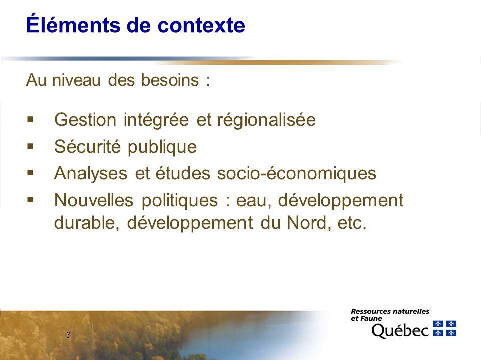 3 Éléments de contexte Au niveau des besoins :  Gestion intégrée et régionalisée  Sécurité publique  Analyses et études socio-économiques  Nouvelles politiques : eau, développement durable, développement du Nord, etc.