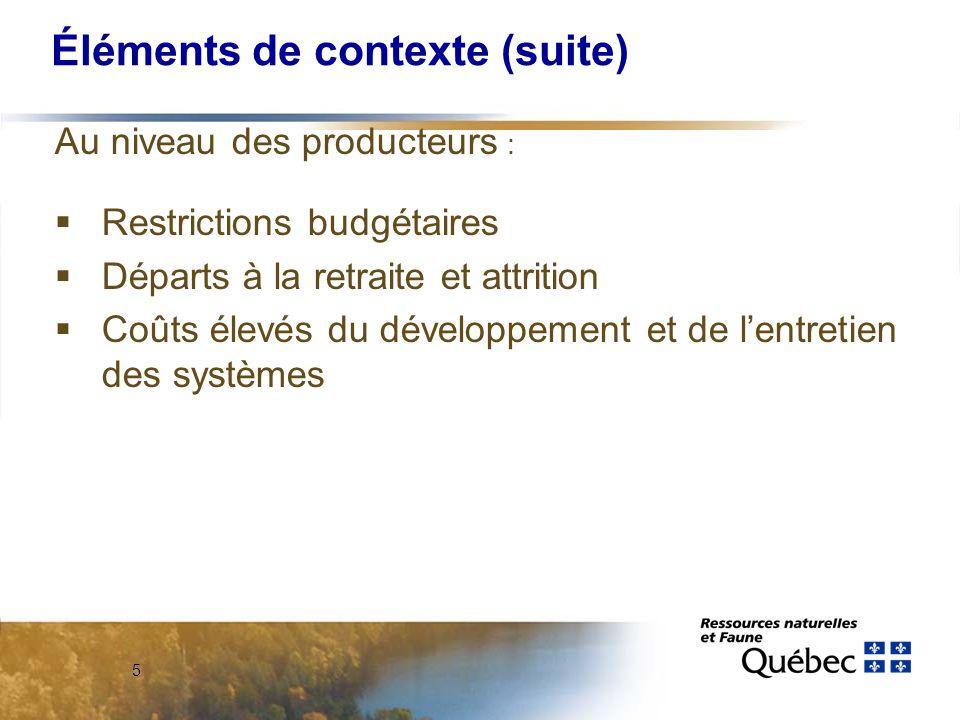 5 Éléments de contexte (suite) Au niveau des producteurs :  Restrictions budgétaires  Départs à la retraite et attrition  Coûts élevés du développement et de l'entretien des systèmes