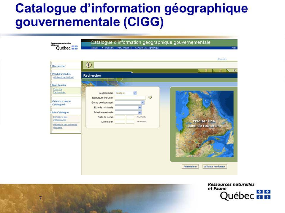 7 Catalogue d'information géographique gouvernementale (CIGG)