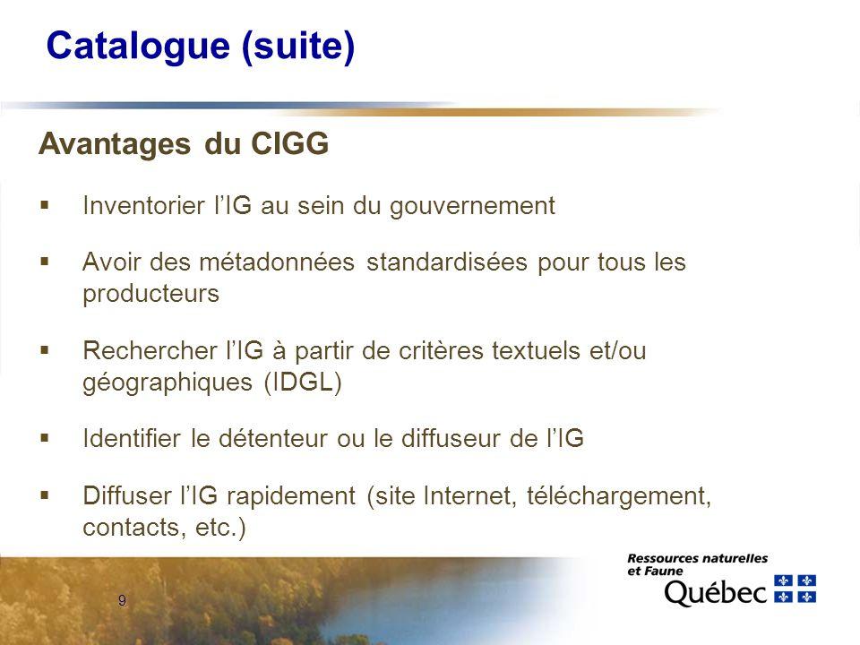 9 Catalogue (suite) Avantages du CIGG  Inventorier l'IG au sein du gouvernement  Avoir des métadonnées standardisées pour tous les producteurs  Rechercher l'IG à partir de critères textuels et/ou géographiques (IDGL)  Identifier le détenteur ou le diffuseur de l'IG  Diffuser l'IG rapidement (site Internet, téléchargement, contacts, etc.)