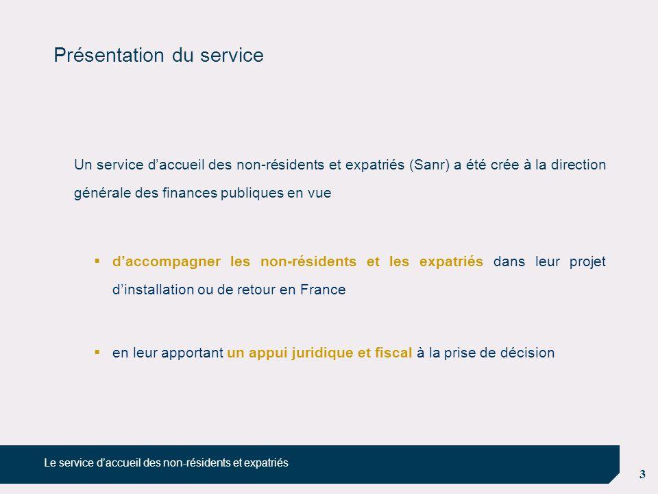 3 Présentation du service Un service d'accueil des non-résidents et expatriés (Sanr) a été crée à la direction générale des finances publiques en vue