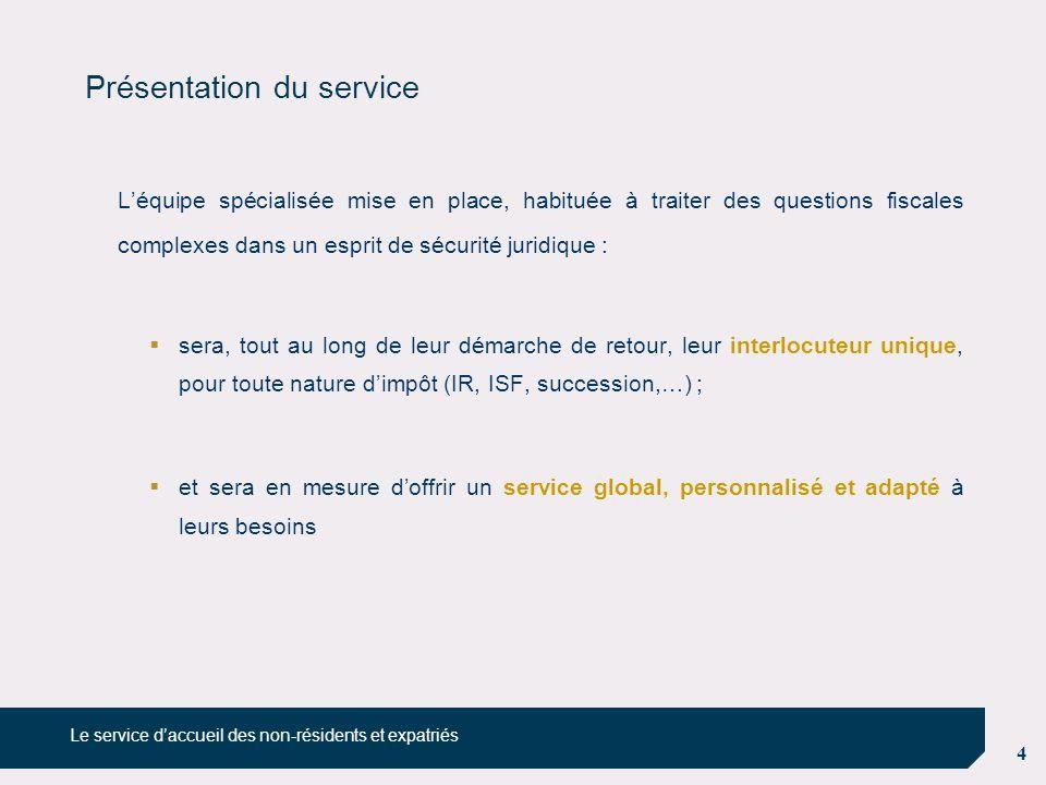 4 Présentation du service L'équipe spécialisée mise en place, habituée à traiter des questions fiscales complexes dans un esprit de sécurité juridique