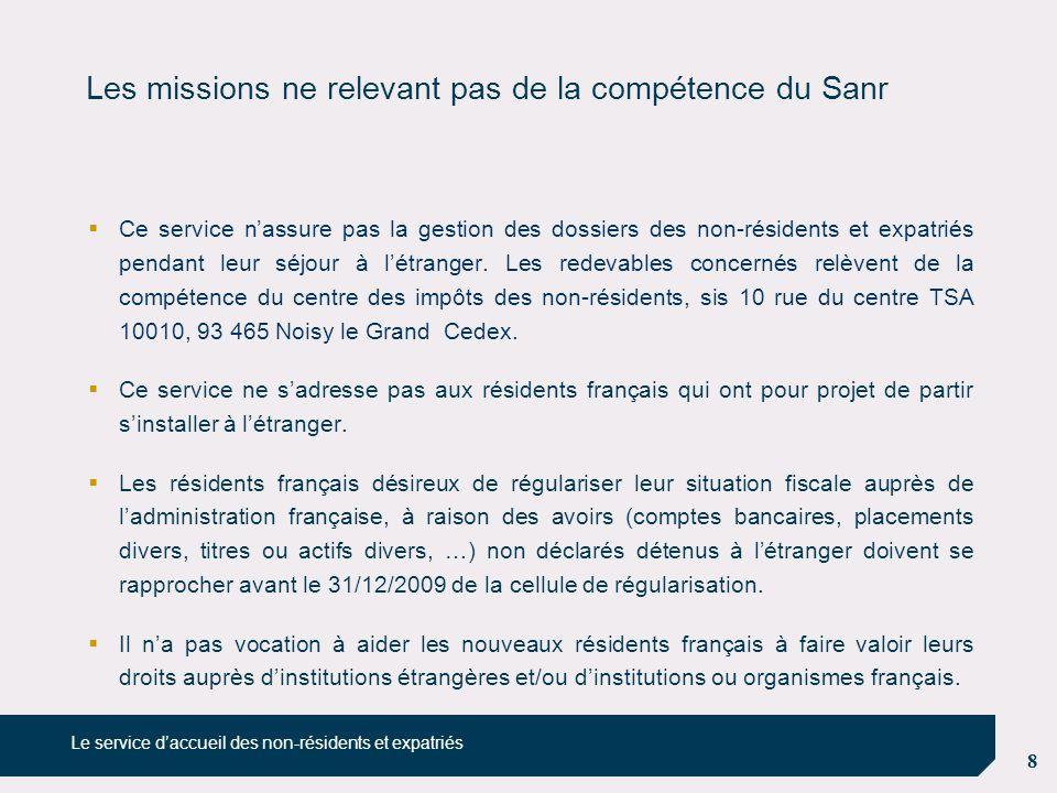 8 Les missions ne relevant pas de la compétence du Sanr  Ce service n'assure pas la gestion des dossiers des non-résidents et expatriés pendant leur