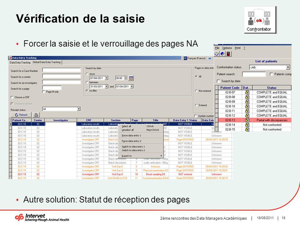 1818/05/2011 2ème rencontres des Data Managers Académiques Vérification de la saisie Forcer la saisie et le verrouillage des pages NA Autre solution: