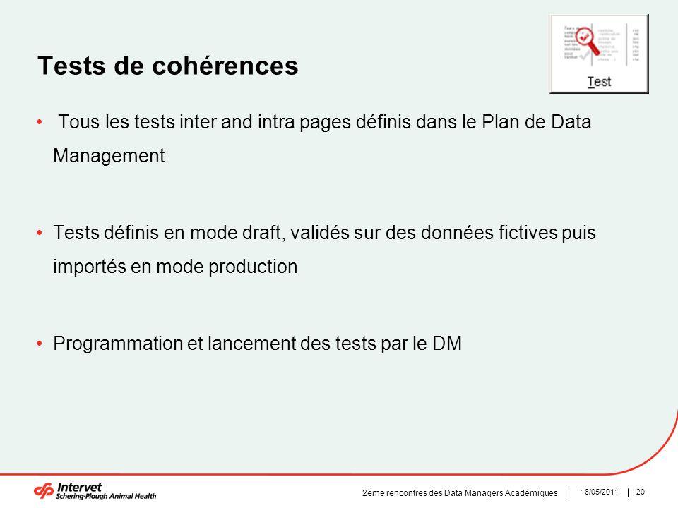2018/05/2011 2ème rencontres des Data Managers Académiques Tests de cohérences Tous les tests inter and intra pages définis dans le Plan de Data Manag