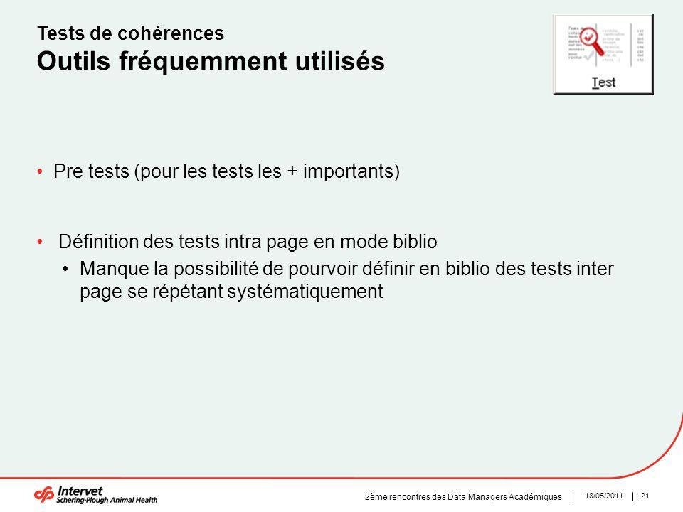 2118/05/2011 2ème rencontres des Data Managers Académiques Tests de cohérences Outils fréquemment utilisés Pre tests (pour les tests les + importants)