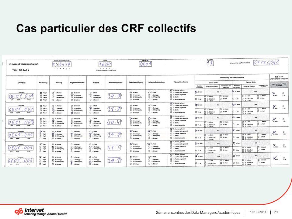 29 Cas particulier des CRF collectifs 18/05/2011 2ème rencontres des Data Managers Académiques