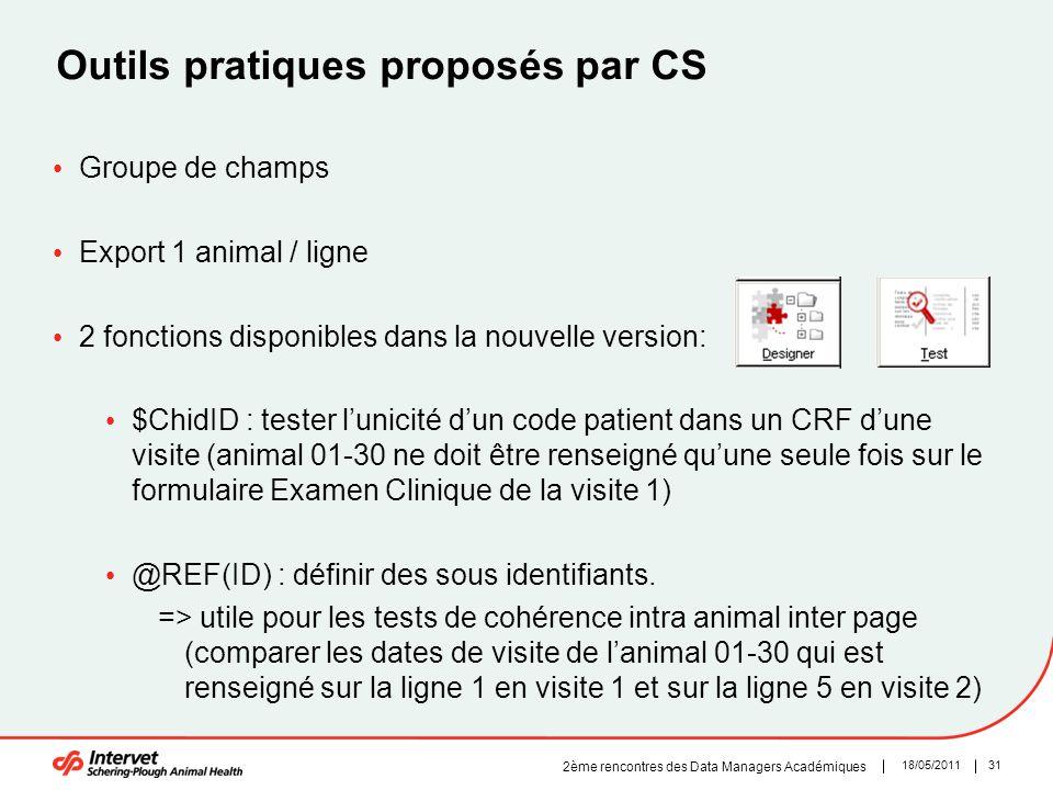 3118/05/2011 2ème rencontres des Data Managers Académiques Outils pratiques proposés par CS Groupe de champs Export 1 animal / ligne 2 fonctions dispo