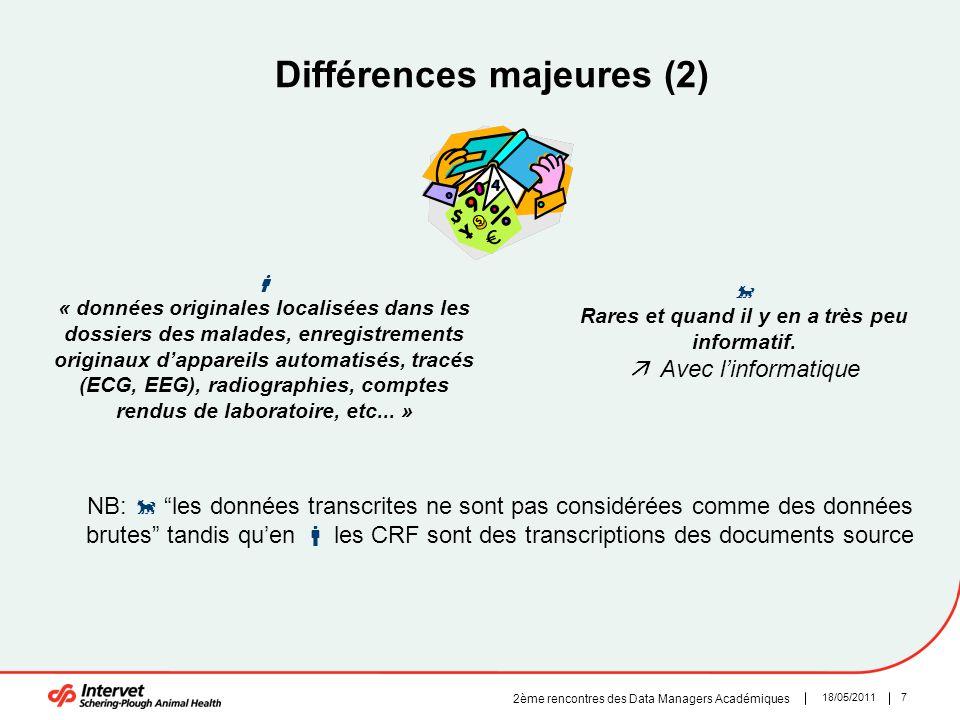 718/05/2011 2ème rencontres des Data Managers Académiques Différences majeures (2)  « données originales localisées dans les dossiers des malades, en