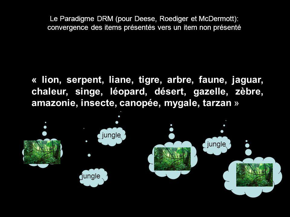 2-2. Oubli de la source Le Paradigme DRM (pour Deese, Roediger et McDermott): convergence des items présentés vers un item non présenté « lion, serpen