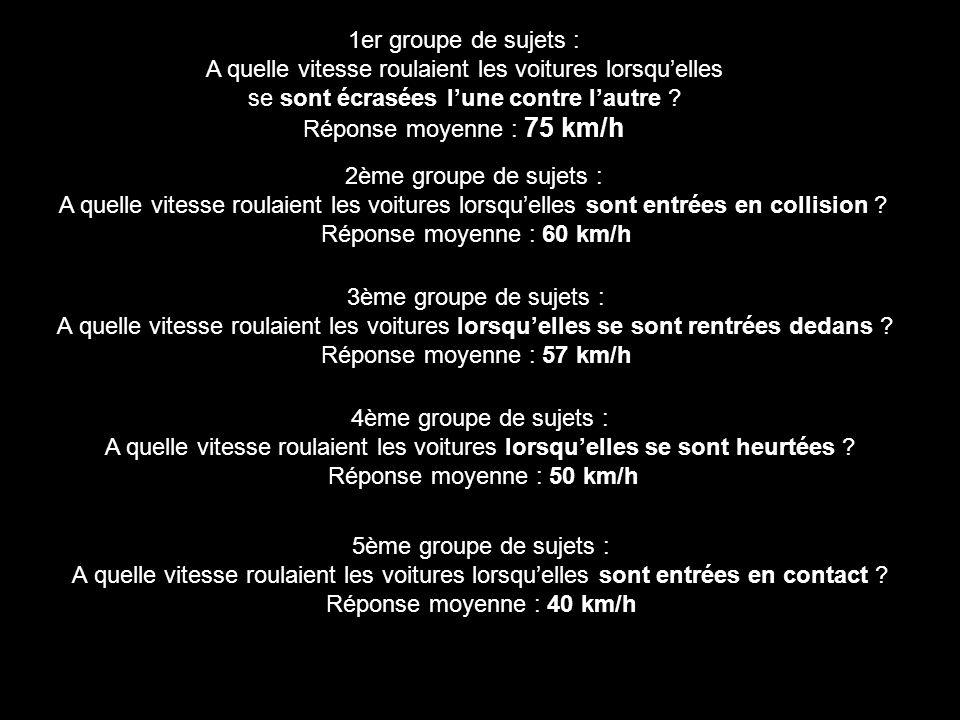 1er groupe de sujets : A quelle vitesse roulaient les voitures lorsqu'elles se sont écrasées l'une contre l'autre ? Réponse moyenne : 75 km/h 2ème gro
