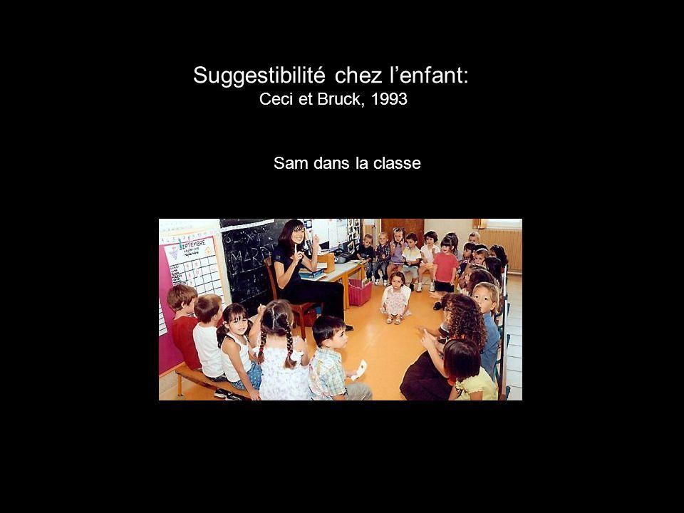 Suggestibilité chez l'enfant: Ceci et Bruck, 1993 Sam dans la classe