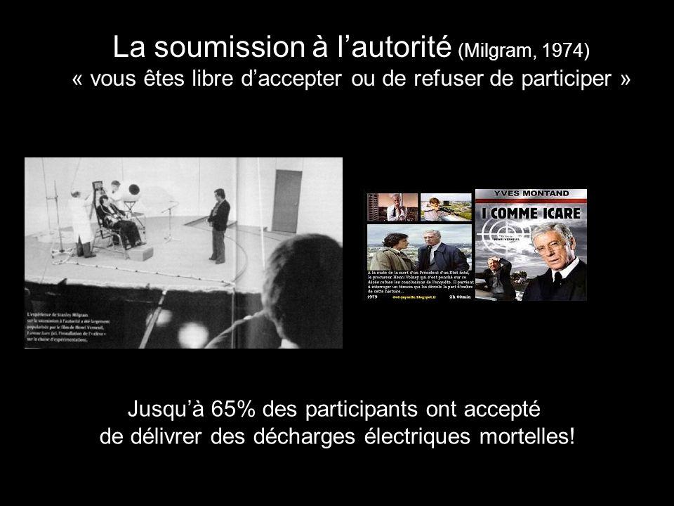 La soumission à l'autorité (Milgram, 1974) « vous êtes libre d'accepter ou de refuser de participer » Jusqu'à 65% des participants ont accepté de déli