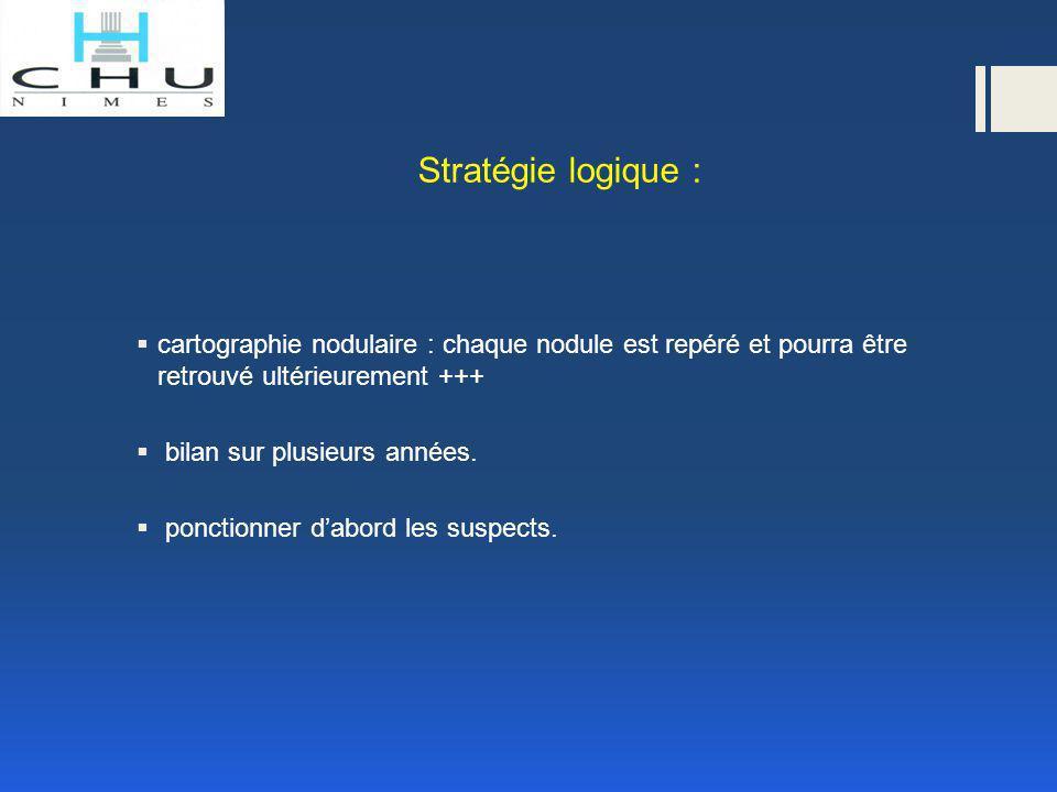 Stratégie logique :  cartographie nodulaire : chaque nodule est repéré et pourra être retrouvé ultérieurement +++  bilan sur plusieurs années.  pon