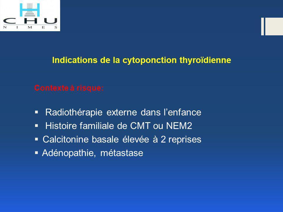 Indications de la cytoponction thyroïdienne Contexte à risque:  Radiothérapie externe dans l'enfance  Histoire familiale de CMT ou NEM2  Calcitonin