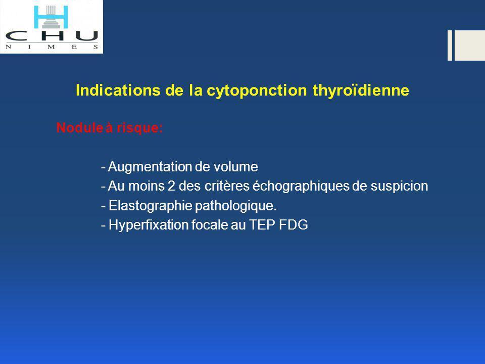Indications de la cytoponction thyroïdienne Nodule à risque: - Augmentation de volume - Au moins 2 des critères échographiques de suspicion - Elastogr